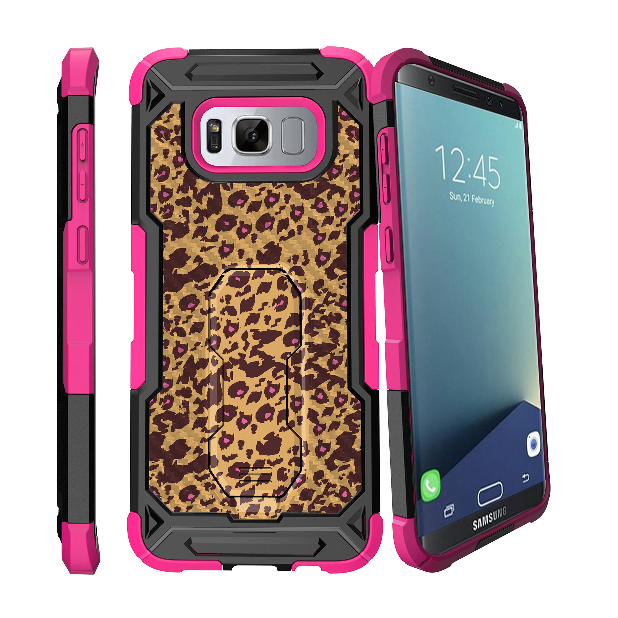 Case for Samsung Galaxy S8 Plus Version [ UFO Defense Case ][Galaxy S8 PLUS SM-G955][Pink Silicone] Carbon Fiber Texture Case with Holster + Stand Fun Patterns