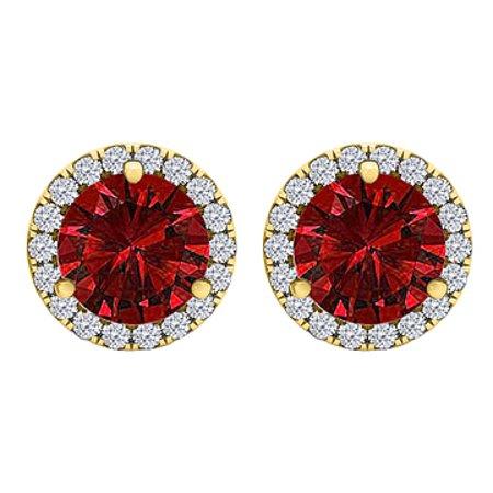 CZ Ruby Round Halo Stud Earrings Yellow Gold Vermeil - image 1 de 2