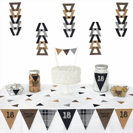 18th Milestone Birthday - Time to Adult - Triangle Birthday Party Decoration Kit - 72 - Birthday Decoration Ideas For Adults