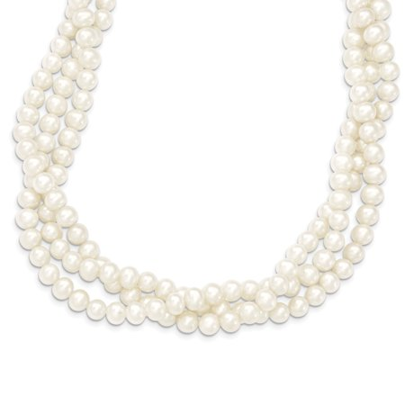 14k Yellow Gold 7mm White Near Round Freshwater Cultured Pearl 3 Strand Chain Necklace Pendant Charm For Women