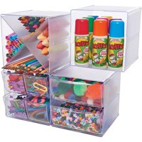 "Stackable 2 Drawer Cube Storage Organizer-6""X6""X7.2"" Clear"
