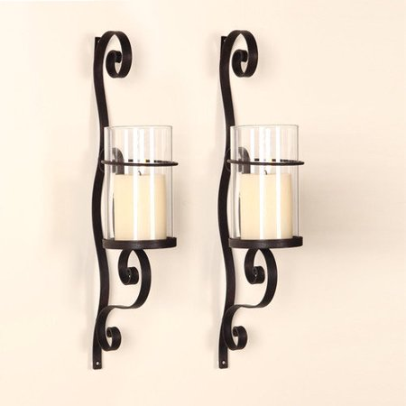 Iron Wall Sconce Candle Holder By Adeco Trading : Adeco Trading Iron Wall Sconce Candle Holder (Set of 2) - Walmart.com