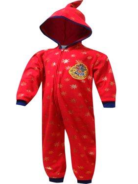 Harry Potter Girls' Harry Potter Hogwarts Crest Hooded One Piece Pajama (7/8)