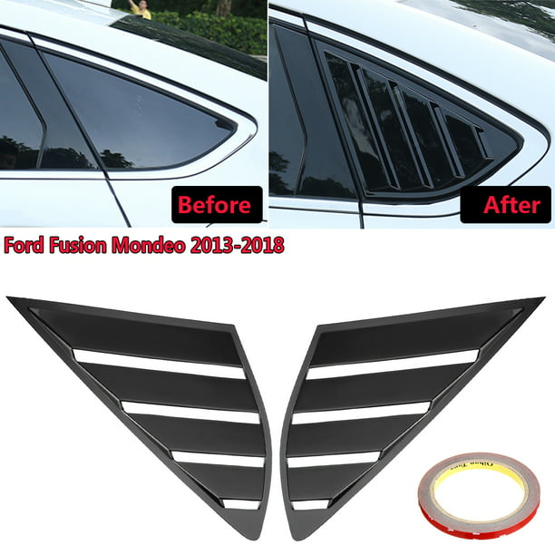 For Ford Fusion Mondeo 2013-2018 1 Pair Quarter Louver Cover Vent Rear Side  Carbon Fiber / Gloss Black Window