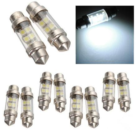 10x 36mm White 6 SMD 1210 LED Car Interior Festoon Dome Light Lamp Bulb 12V -