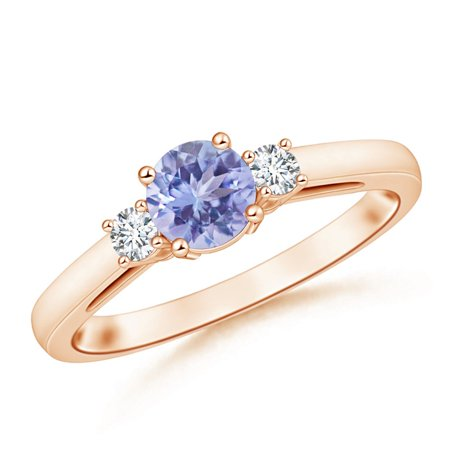 December Birthstone Ring - Round Tanzanite & Diamond Three Stone Engagement Ring in 14K Rose Gold (6mm Tanzanite) -
