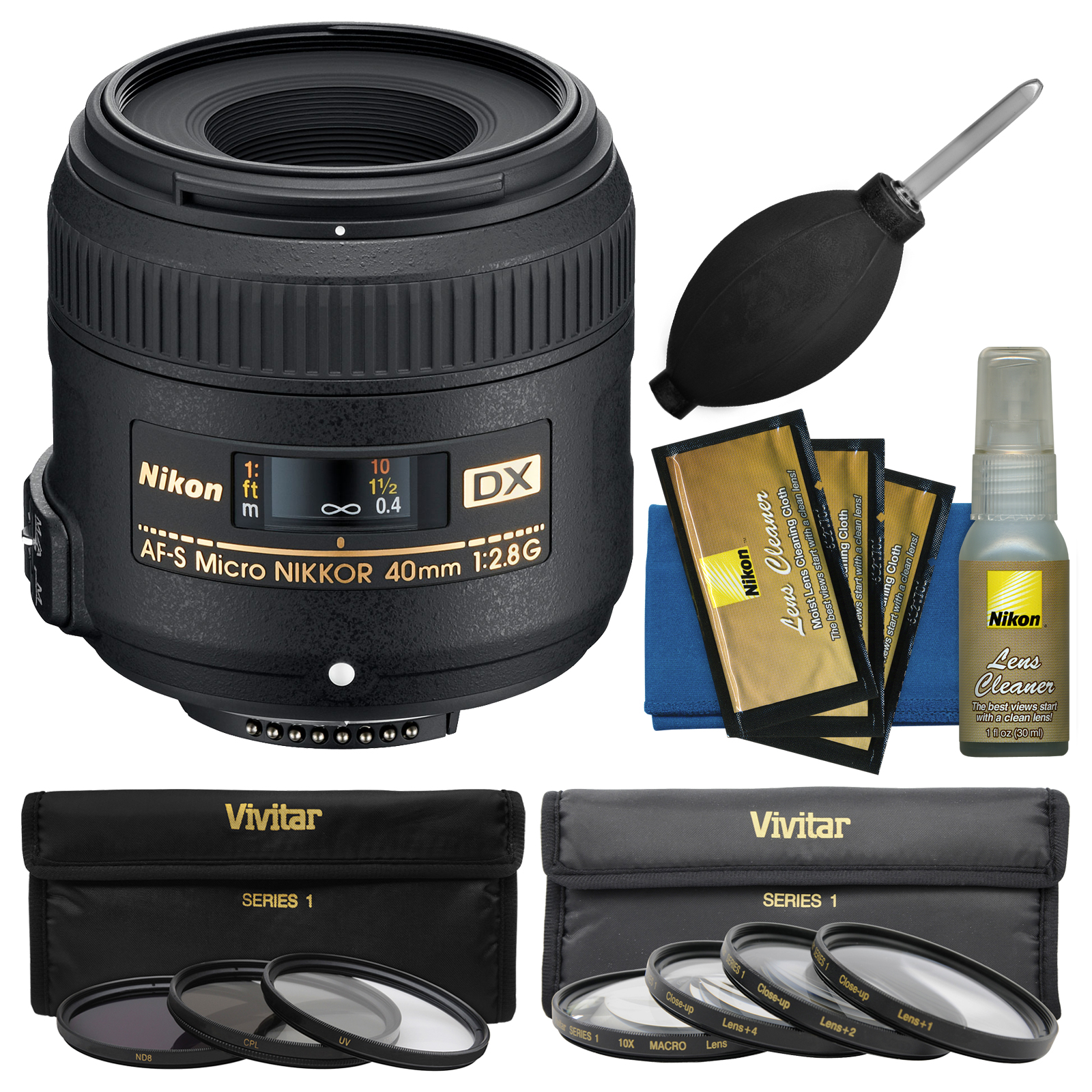 Nikon 40mm f/2.8 G DX AF-S Micro-Nikkor Lens + 7 UV/CPL/ND8 & Close-up Filters + Cleaning Kit for D3200, D3300, D5300, D5500, D7100, D7200 Camera