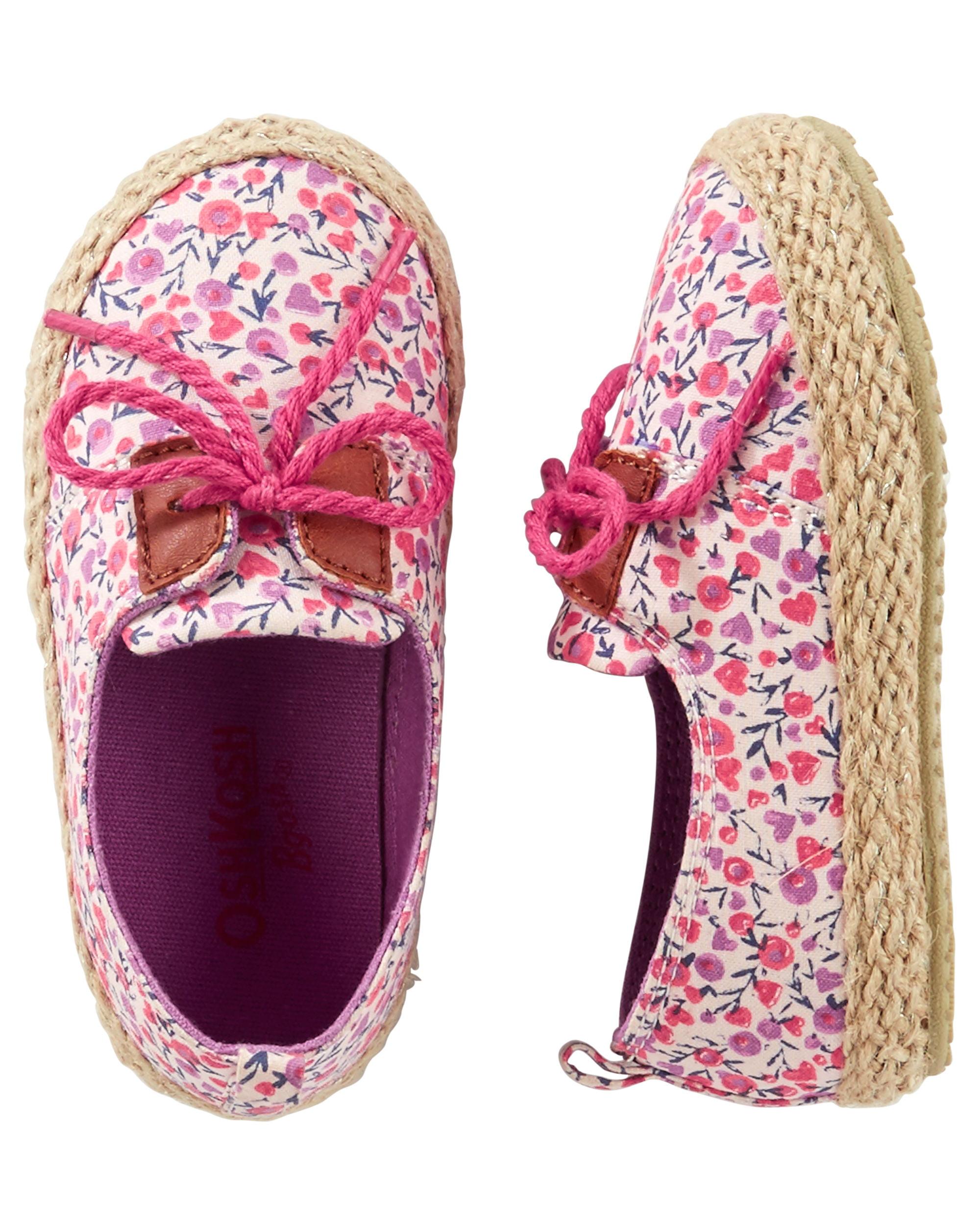 OshKosh B'gosh Girls' Floral Lace-Up Espadrilles - Size 3