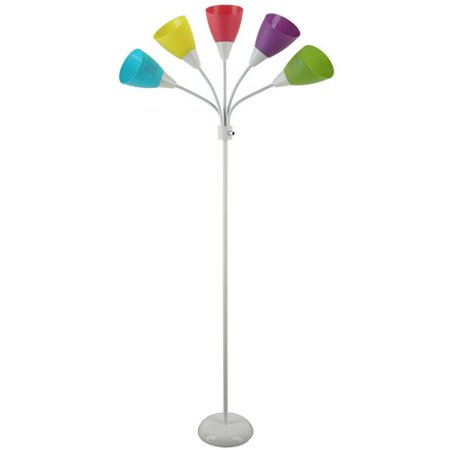 Mainstays white 5 light floor lamp with multi colored for Floor lamp with different color shades