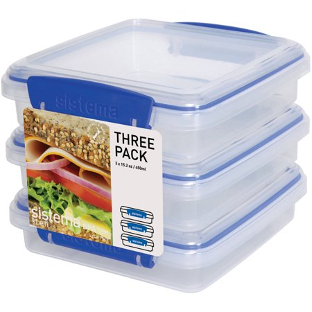 Sistema KLIP IT 450mL Sandwich Container, 3 Pack
