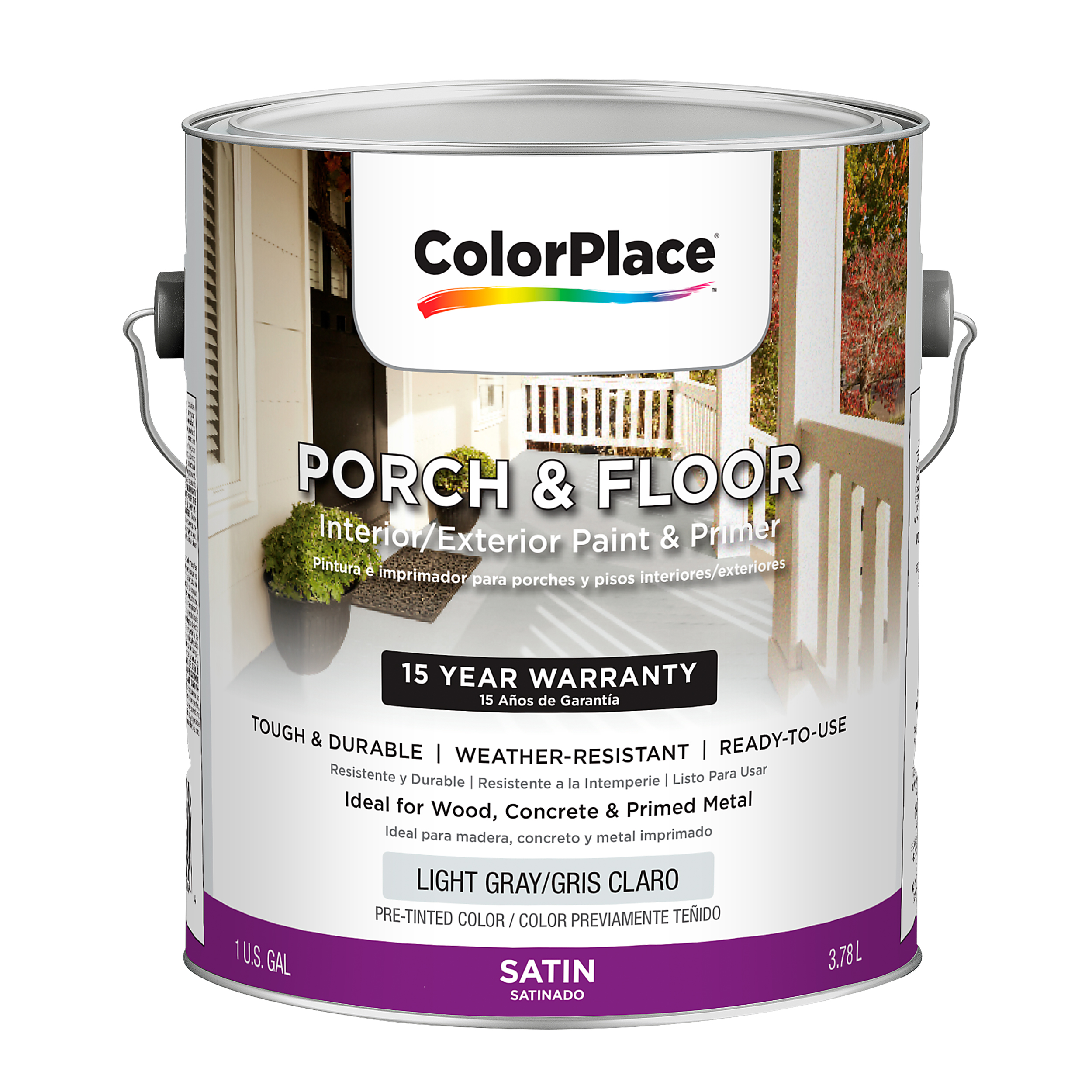 ColorPlace Satin Interior/Exterior Porch and Floor Light Gray Paint and Primer, 1-Gal