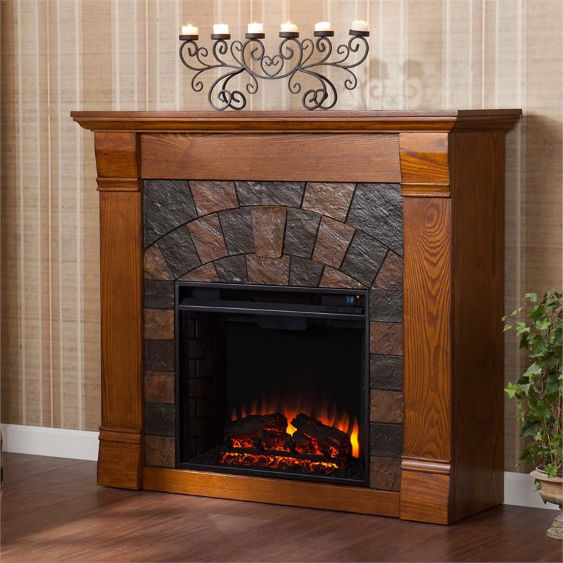 Southern Enterprises Elkmont Electric Fireplace in Salem Antique Oak by Southern Enterprises