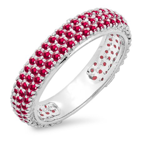 - 1.30 Carat (ctw) 10K White Gold Round Ruby Ladies Pave Set Anniversary Wedding Eternity Ring 1 1/3 CT