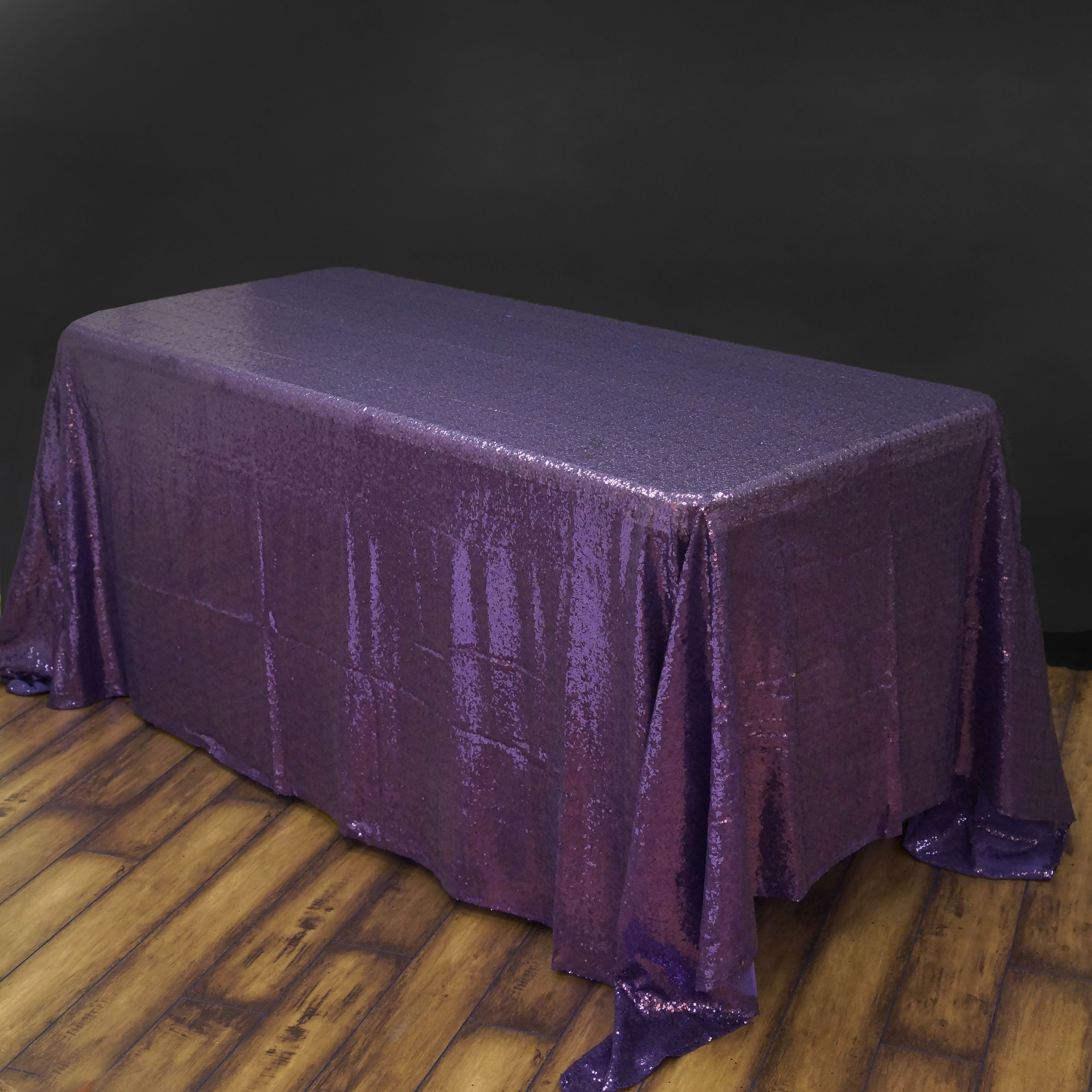 """BalsaCircle 90"""" x 132"""" Sequin Rectangular Tablecloth for Party Wedding Reception Catering Dining Home Table Linens"""