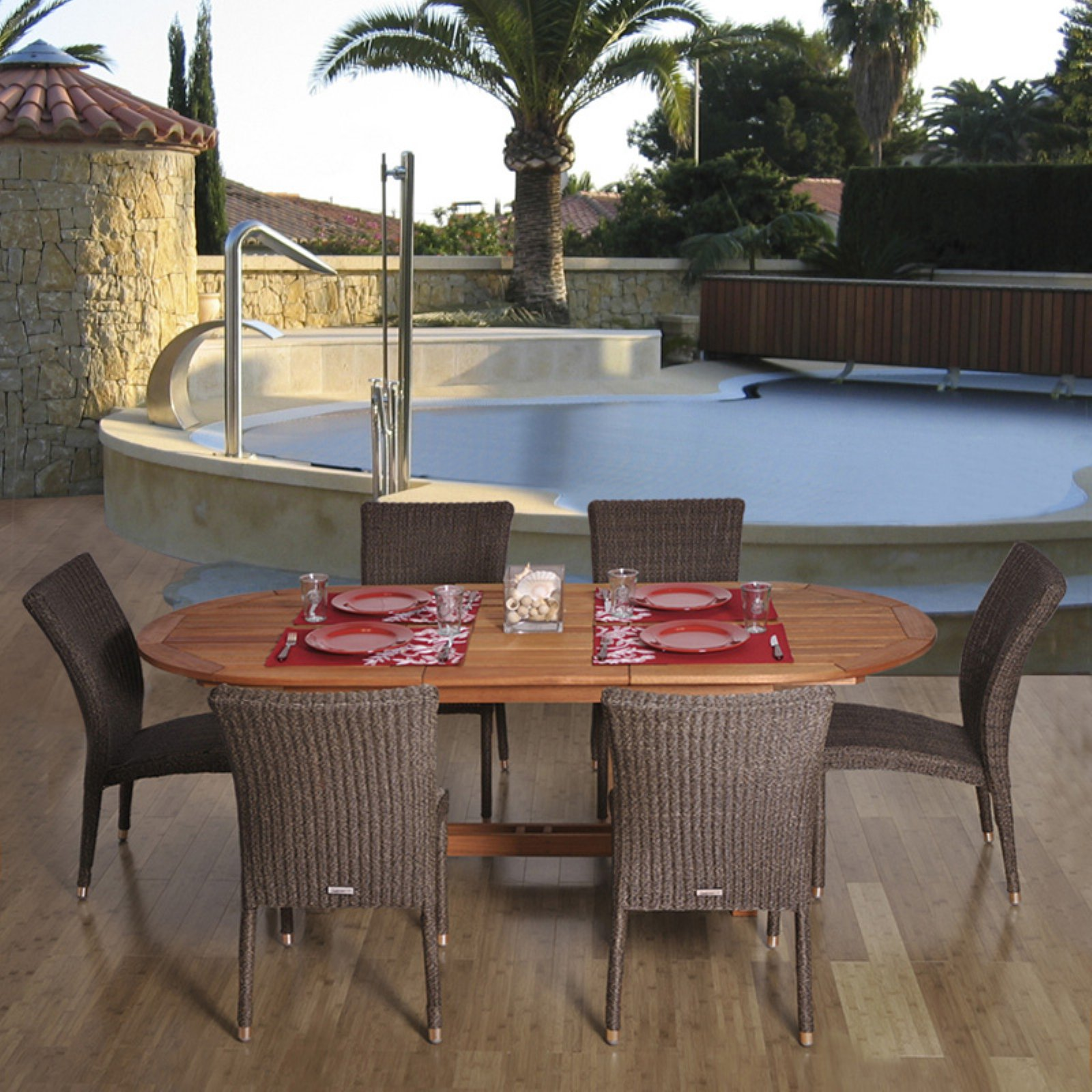 Amazonia Lemans Oval Eucalyptus And Wicker Dining Set - Seats 6