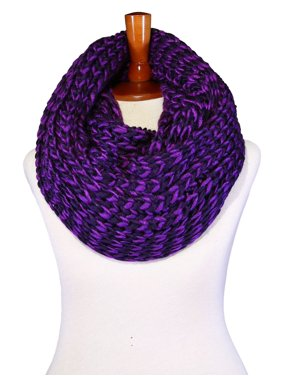 Basico Unisex Adult Junior Winter Knitted Infinity Circle Loop Scarf Chunky Cable Waffle Two Tones