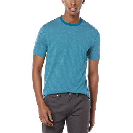 Perry Ellis Mens Feeder Stripe Graphic T-Shirt Orange White Striped Shirt