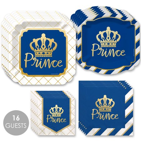 Royal Prince Charming with Gold Foil - Baby Shower or Birthday Party Tableware Plates and Napkins - Bundle for 16 (18th Birthday Tableware)
