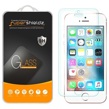 [2-Pack] Supershieldz iPhone SE / 5S / 5C / 5 Tempered Glass Screen Protector, Anti-Scratch, Anti-Fingerprint, Bubble