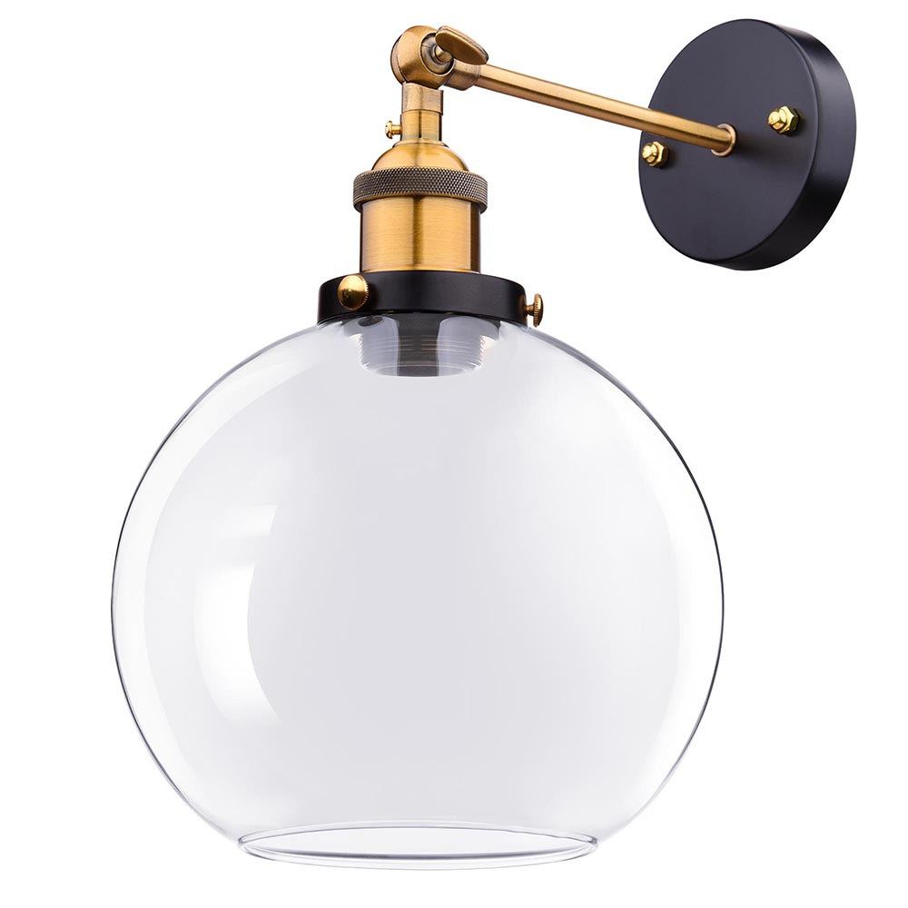 """Yescom Vintage Industrial 7.9"""" Ball Shape Glass Light Wall Sconce Edison Lamp for Cafe Kitchen Transparent"""