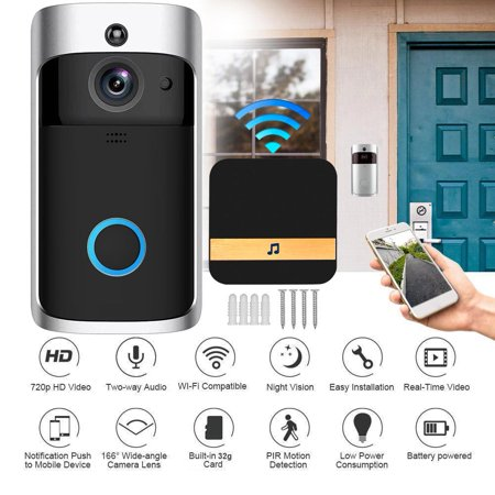 - Home Security Wireless Ring Door Bell Cam Real Time Video 2-Way Talk Night Vision