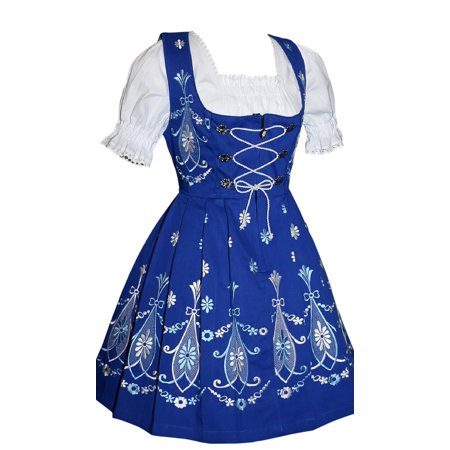 Oktober Fest Dress (3-piece Short Blue German Party Oktoberfest Dirndl)