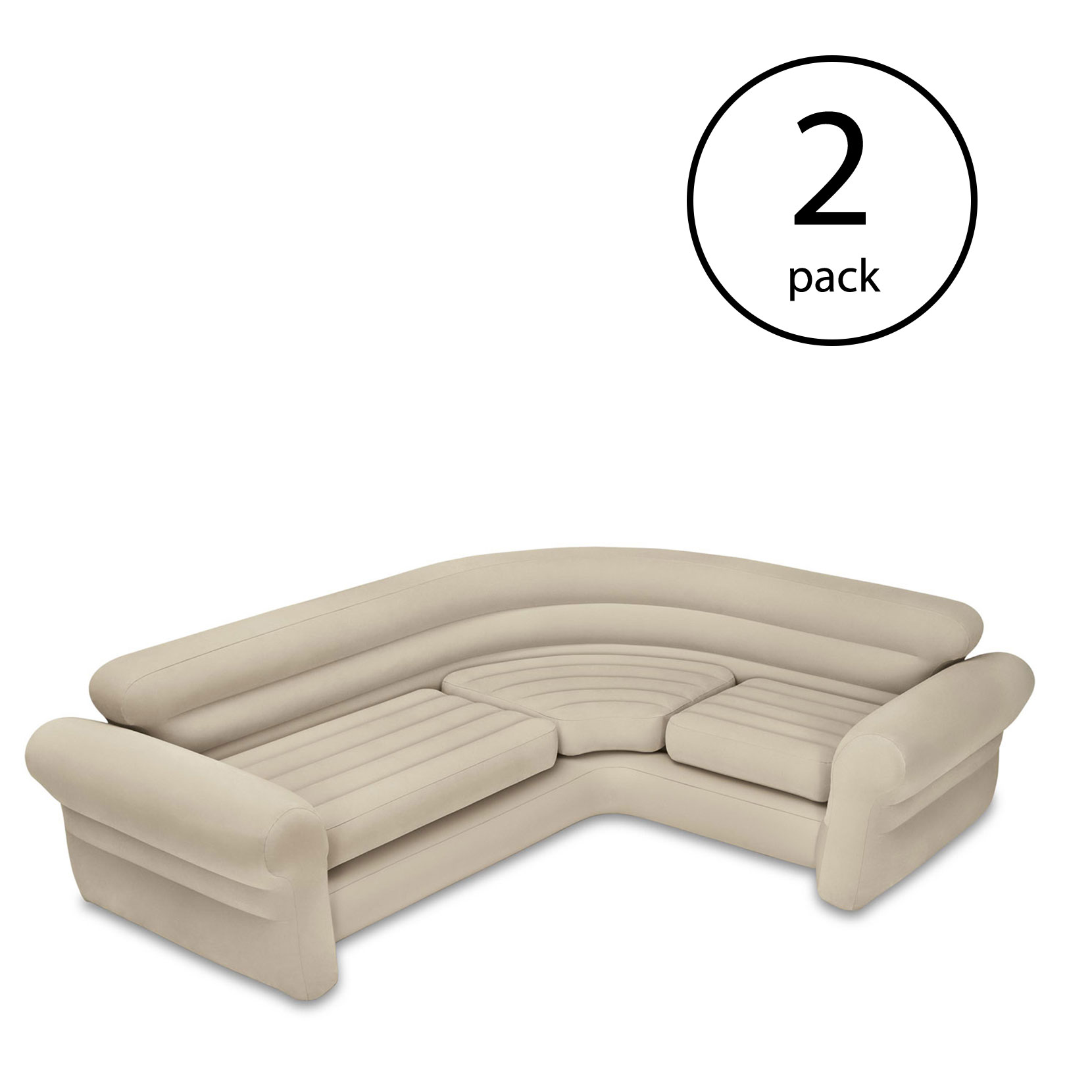 Intex Inflatable Corner Living Room Neutral Sectional Sofa 68575EP (2 Pack)