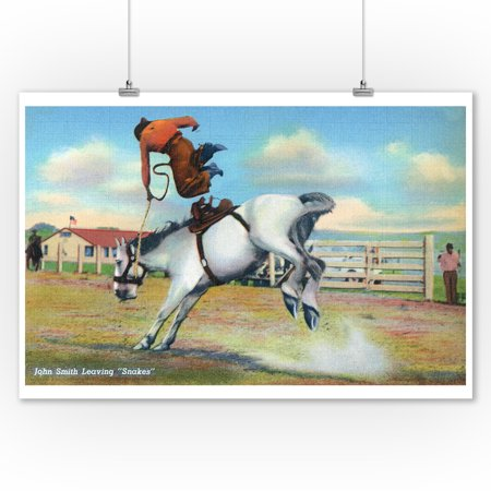 Western Americana - Rodeo Scenes; John Smith Being Thrown from Snakes (9x12 Art Print, Wall Decor Travel - Hand Thrown Art
