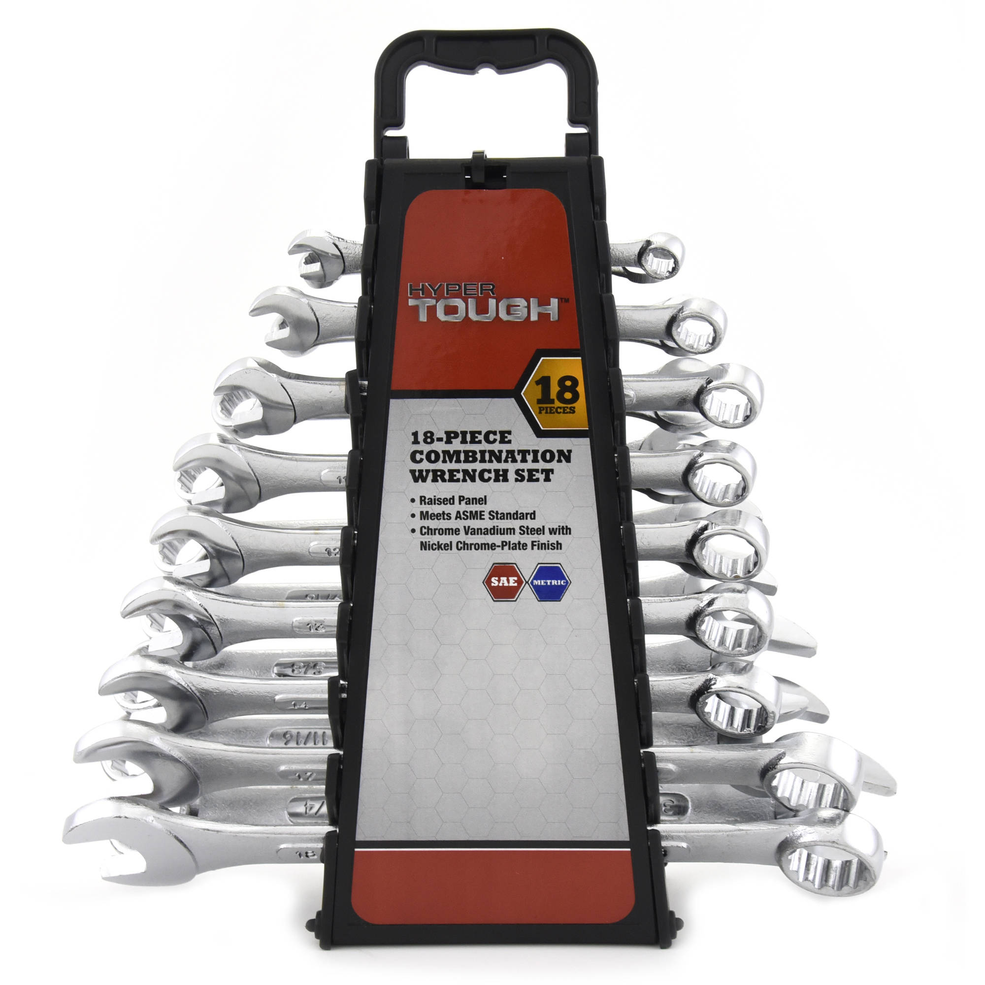 Details about Hyper Tough 18-Piece Combination Wrench Set Garage Mechanic  Steel Tools Kit Case