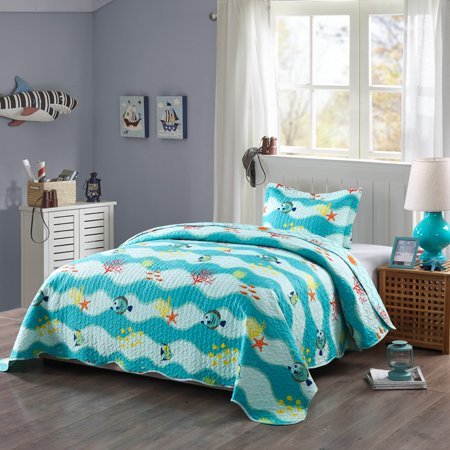 MarCielo 2 Piece Kids Bedspread Quilts Set Throw Blanket for Teens Boys Girls Bed Printed Bedding Coverlet, Twin Size, 277Fish Quilt