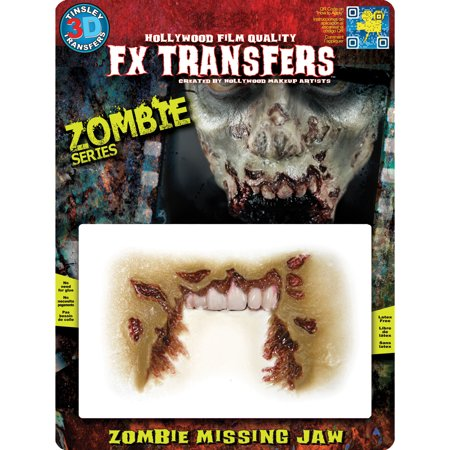 Tinsley Transfers Zombie Missing Jaw Makeup FX Transfers (Zombie Pin Up Halloween Makeup)