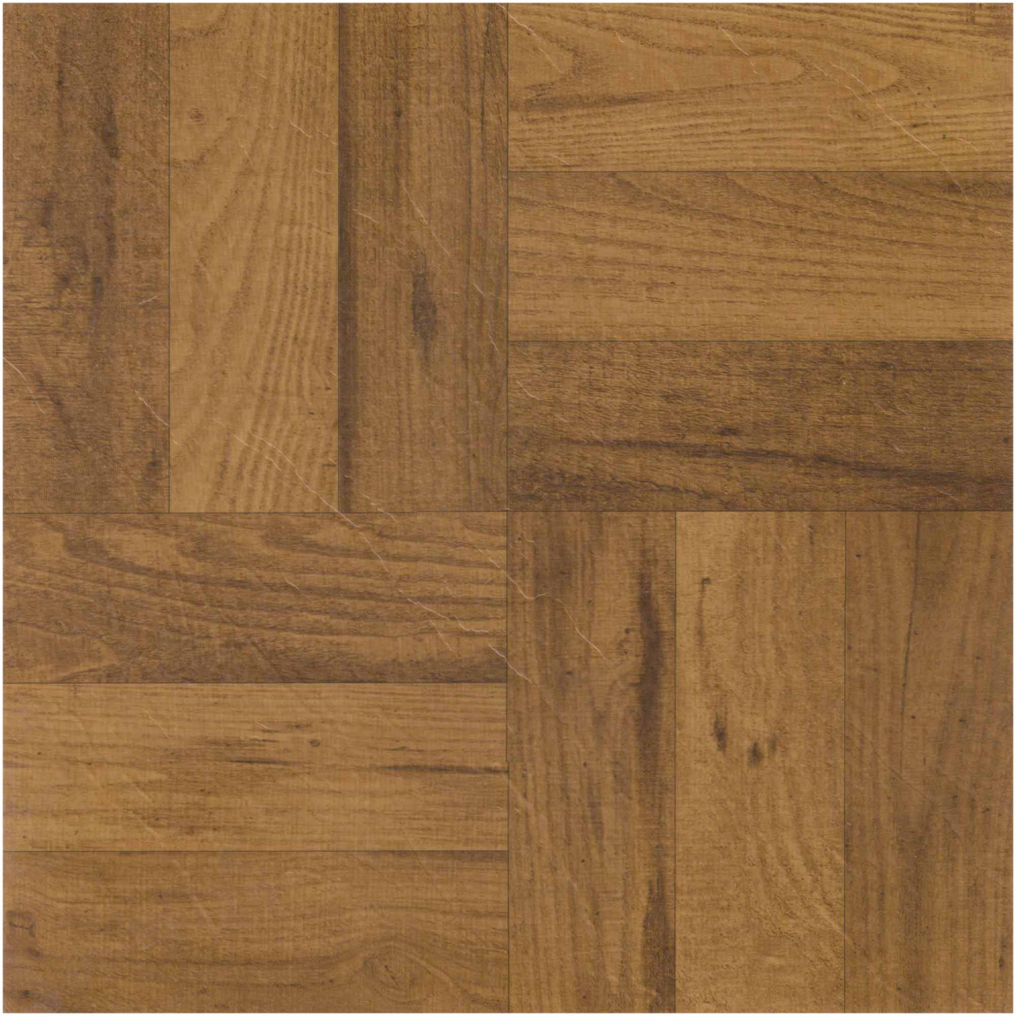 NEXUS 3 Finger Med. Oak Parquet 12x12 Self Adhesive Vinyl Floor Tile - 20 Tiles/20 Sq.Ft.