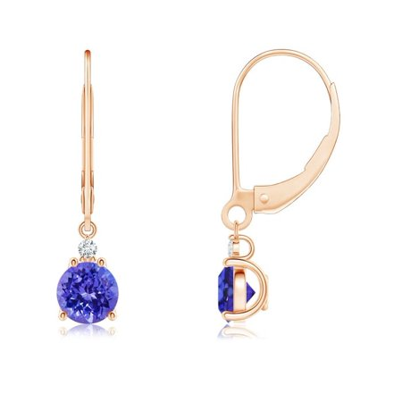 Tanzanite and Diamond Leverback Drop Earrings in 14K Rose Gold (5mm Tanzanite) - SE0998TD-RG-AAAA-5
