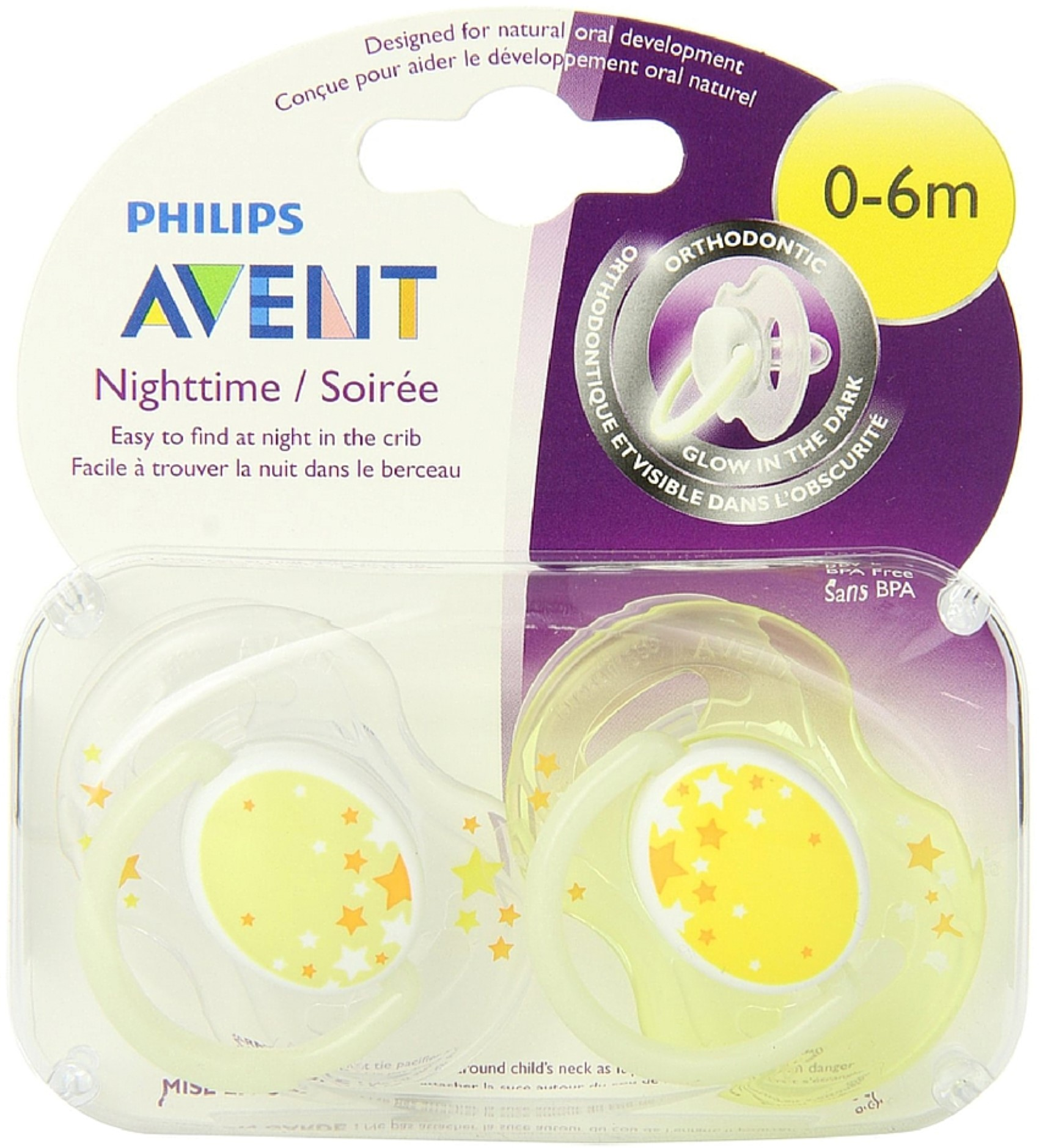 2 Pack - Philips Avent BPA Free Nighttime Infant Pacifier, 0-6 Months 2 ea