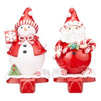 Holiday Time Stocking Holders, Santa & Snowman, 2 Count