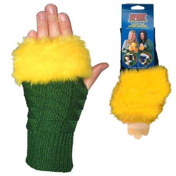 Green & Gold Fuzzy Fan Spirit Fingerless Gloves
