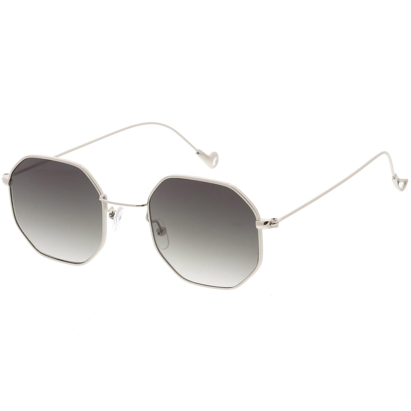 7748552149 sunglass.la - Geometric Octagon Sunglasses Ultra Slim Metal Neutral Colored  Flat Lens 49mm (Gold   Amber) - Walmart.com