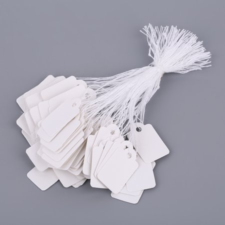 Rectangular Blank White 925 Silver Price Tag 100 Pcs With String Jewelry Label