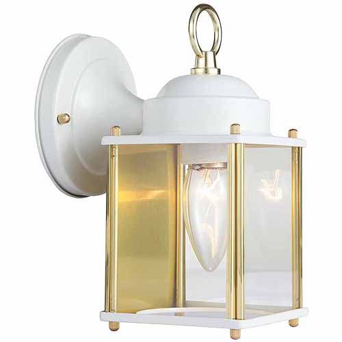 "Design House 502666 Coach Outdoor Downlight, 4.5"" x 8"", White and Polished Brass Finish"