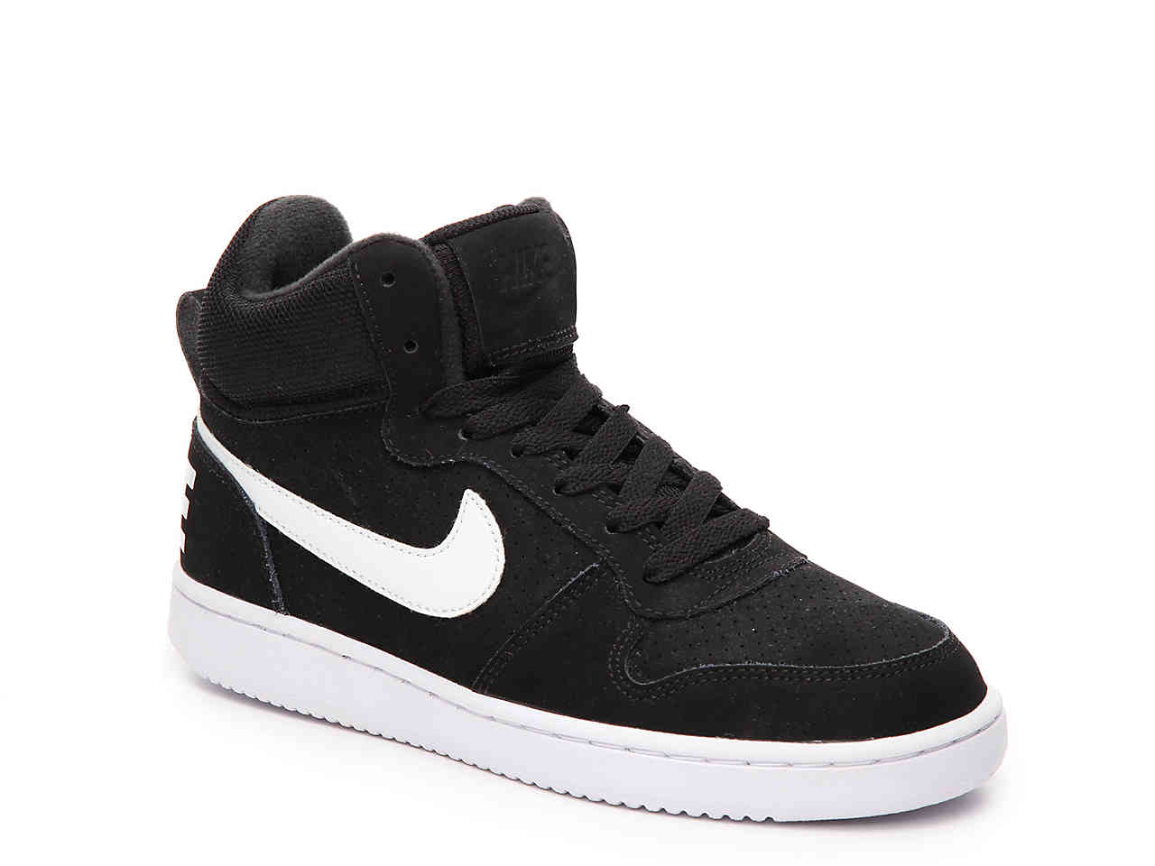 Nike COURT BOROUGH MID Womens Black White Laced Athletic Sneakers Shoes