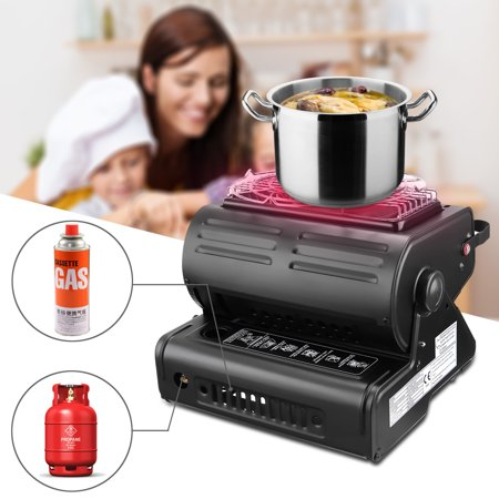 1300W Heat Adjustable Folding Portable Outdoor Camping Safe Geramic Flueless Butane Gas Stove Grill Barbecue Tools Burner Heater Barbecue Tent Hiking Safety Auto