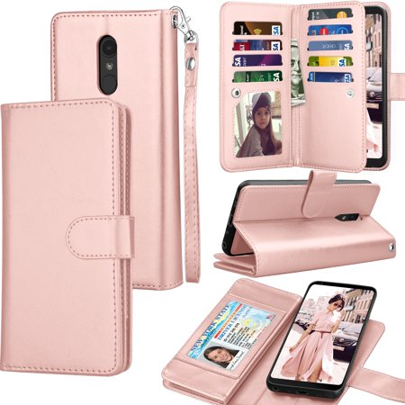 premium selection 1613e 717b9 Tekcoo Wallet Case LG Q Stylo / Stylo 4 / Stylo 5 / Stylo 3, Tekcoo Luxury  ID Cash Credit Card Slots Holder [Rose Gold] Carrying Folio Flip Cover ...