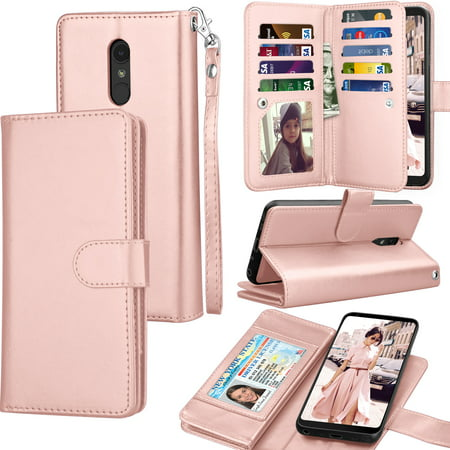 Tekcoo Wallet Case LG Stylo 4 / LG Stylo 3 / LG Q Stylo, Luxury Pu Leather Card Slots Holder Carrying Folio Flip Cover [Detachable Magnetic Hard Case] Kickstand For LG Stylus 4/Stylus 3/Q Stylus (Hard Leather Carry Case)