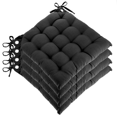 set of 4 reversible u shaped chair pads ties tufted cotton cushions kitchen seat. Black Bedroom Furniture Sets. Home Design Ideas