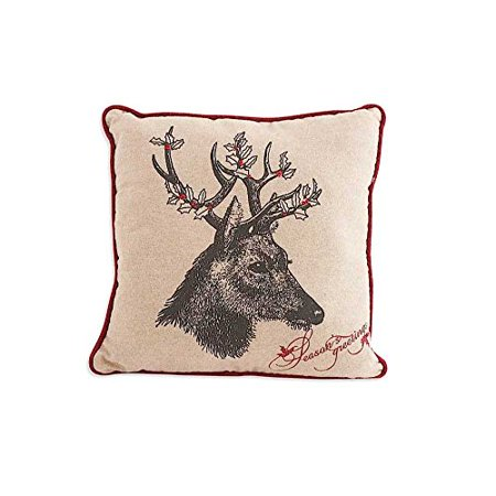 16 Inch Square Linen Pillow with Deer Motif with Holly Antlers By KK -
