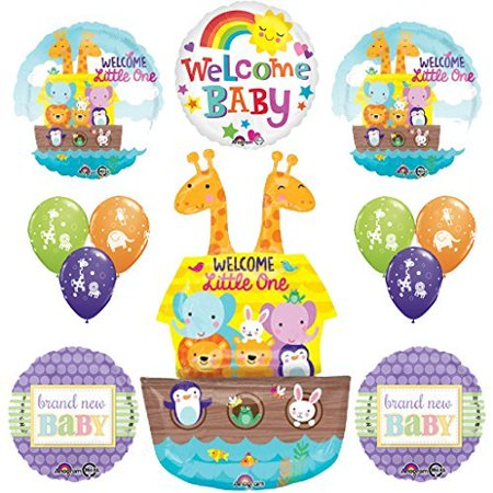 12 pc Noahs Ark Cute and Cuddly Jungle Animal Latex Welcome Baby Baby (Noah's Ark Party Supplies)
