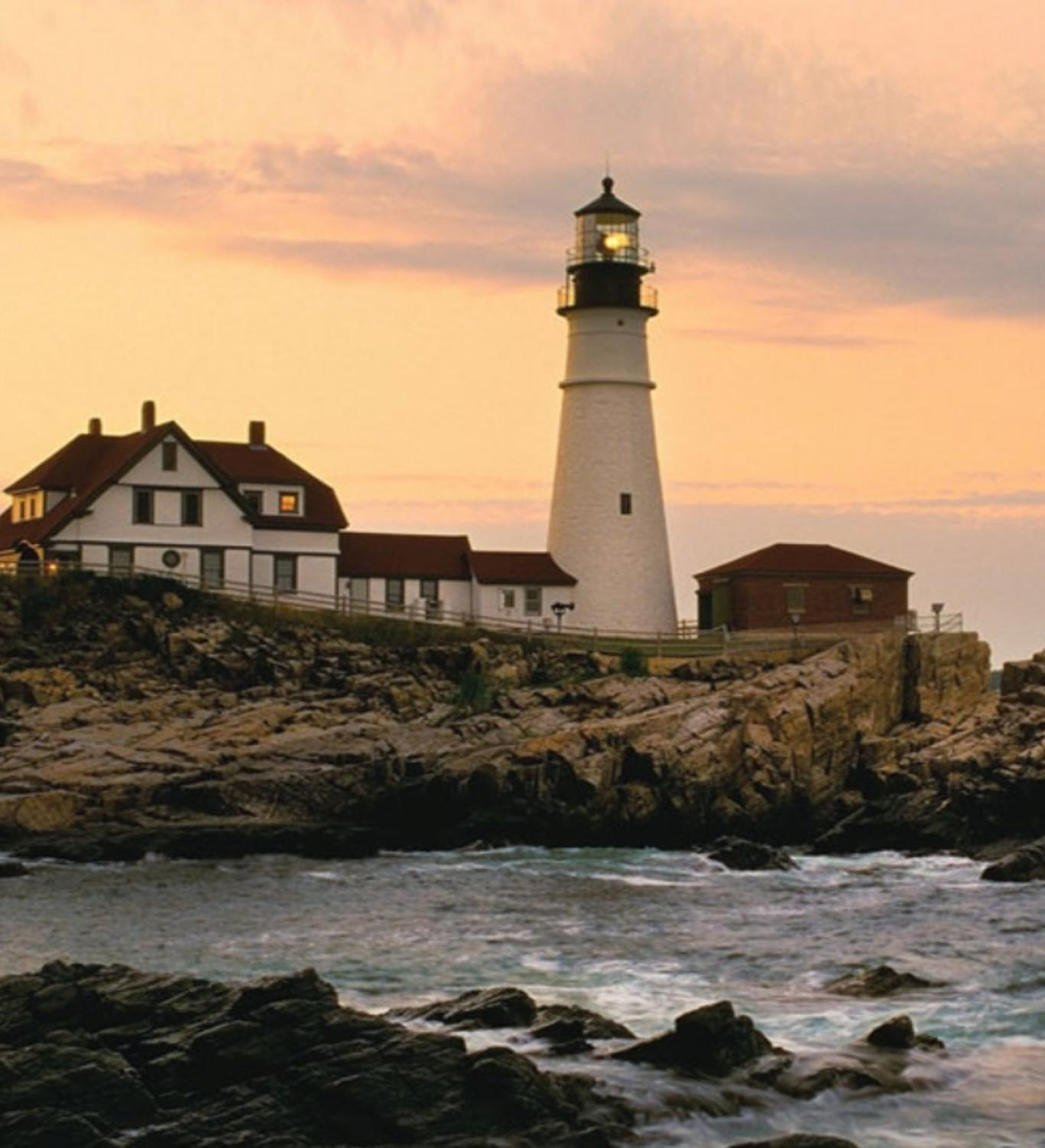 "LED Cottage and Lighthouse on the Shoreline at Sunset Lighted Canvas Wall Art 11.75"" x 15.75"""