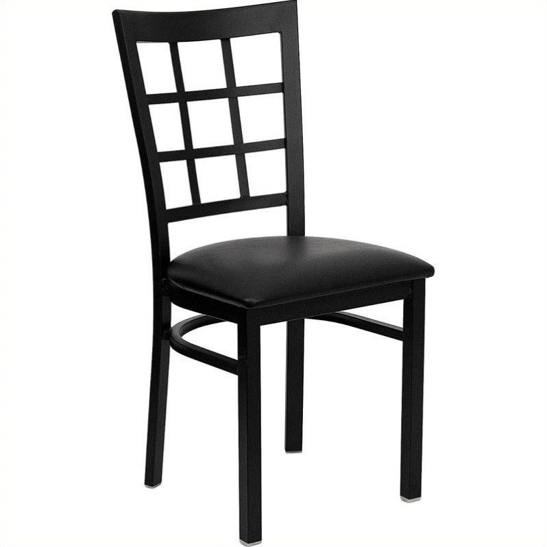 Flash Furniture HERCULES Series Black Window Back Metal Restaurant Chair - Vinyl Seat Multiple Colors