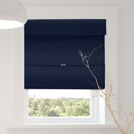 Chicology Cordless Magnetic Roman Shades, Blackout Fabric Window Blind, Commodore Blue (Room Darkening) - 23