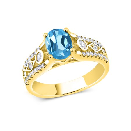 1.98 Ct Oval Swiss Blue Topaz 18K Yellow Gold Plated Silver Ring ()